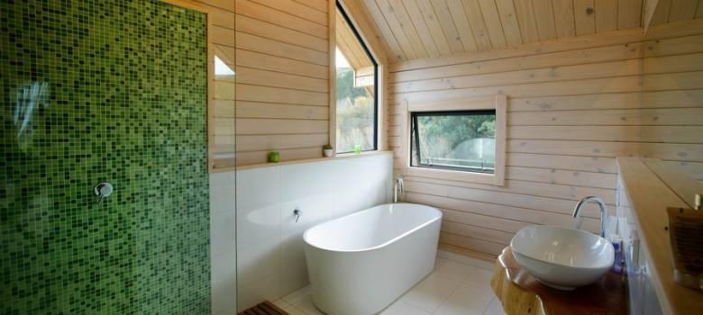 Elegant bathroom with macrocarpa vanity and feature tiles
